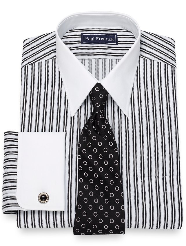 Slim Fit Satin Stripe Dress Shirt