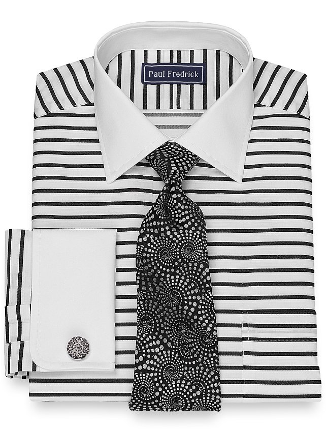Slim Fit Horizontal Stripe Dress Shirt