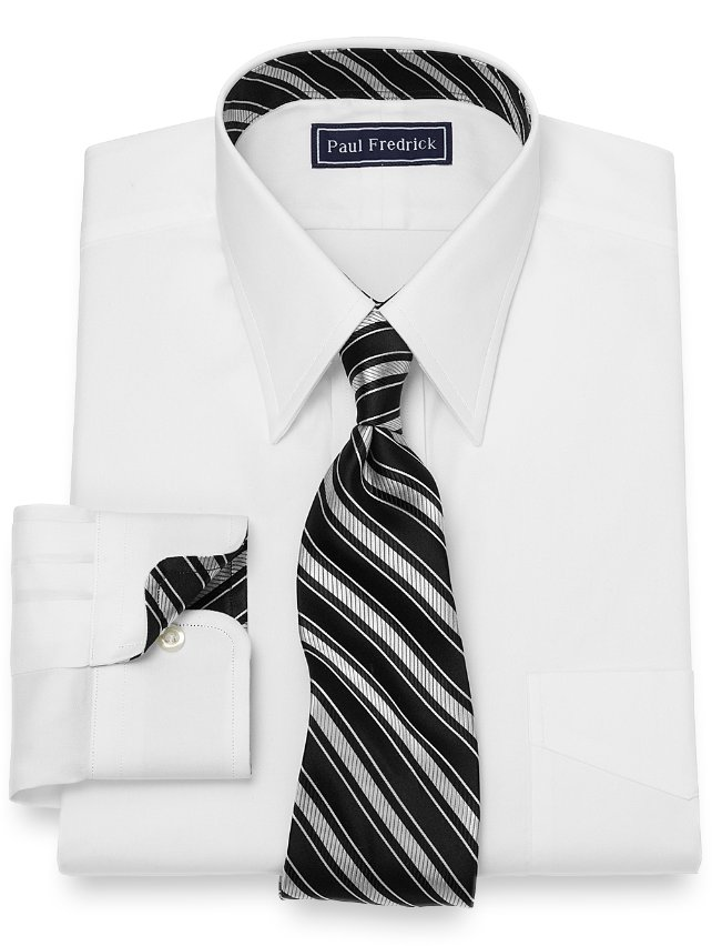 Slim Fit Solid Pinpoint Dress Shirt