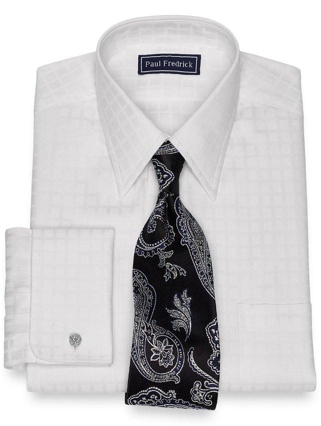 Cotton Satin Windowpane Dress Shirt