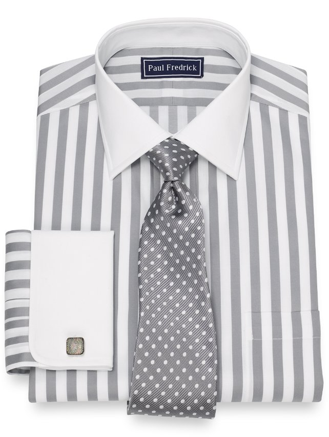 Cotton Bold Satin Stripe Dress Shirt