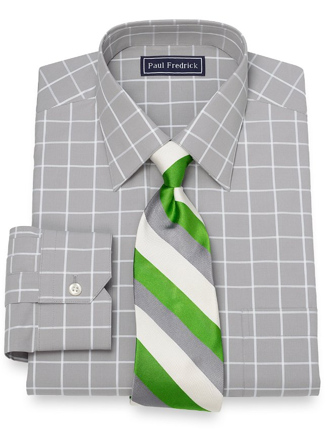 Slim Fit Windowpane Dress Shirt