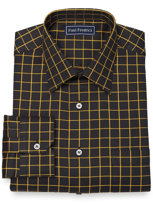 Cotton Satin Rope Grid Dress Shirt