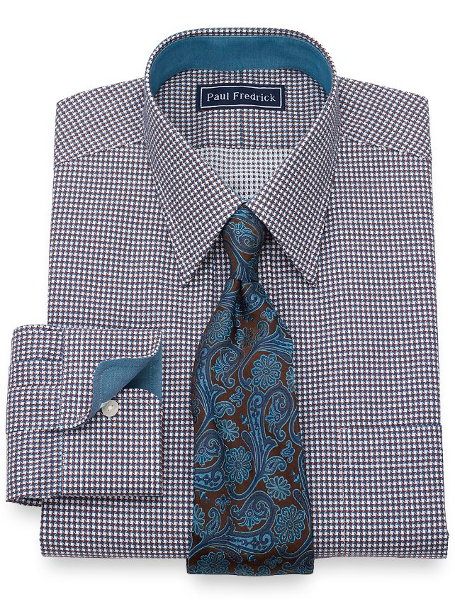 Cotton Chevron Dress Shirt