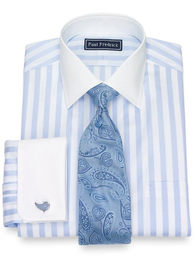 Cotton Bold Satin Stripe Dress Shirt