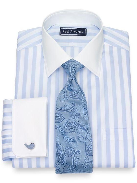 Slim Fit Bold Satin Stripe Dress Shirt