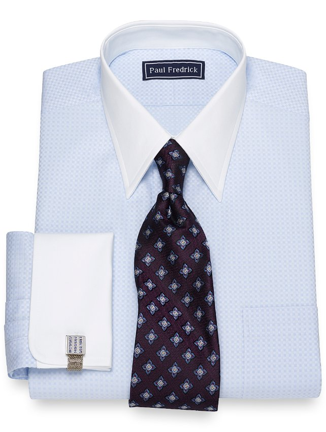 Slim Fit Mini Satin Check Dress Shirt