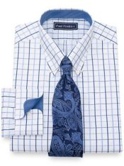 Slim Fit Satin Grid Dress Shirt