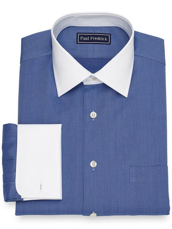 Slim Fit Herringbone Dress Shirt