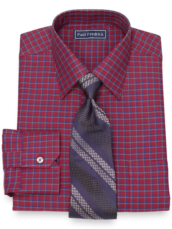 Cotton Twill Check Dress Shirt