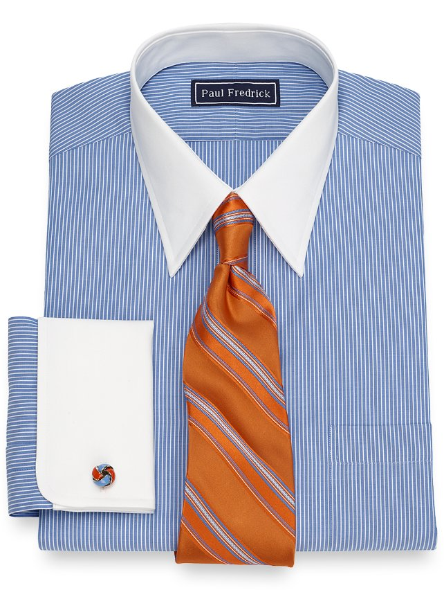 Slim Fit Fine Line Stripe Dress Shirt