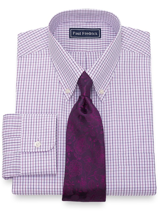 Slim Fit Grid Dress Shirt