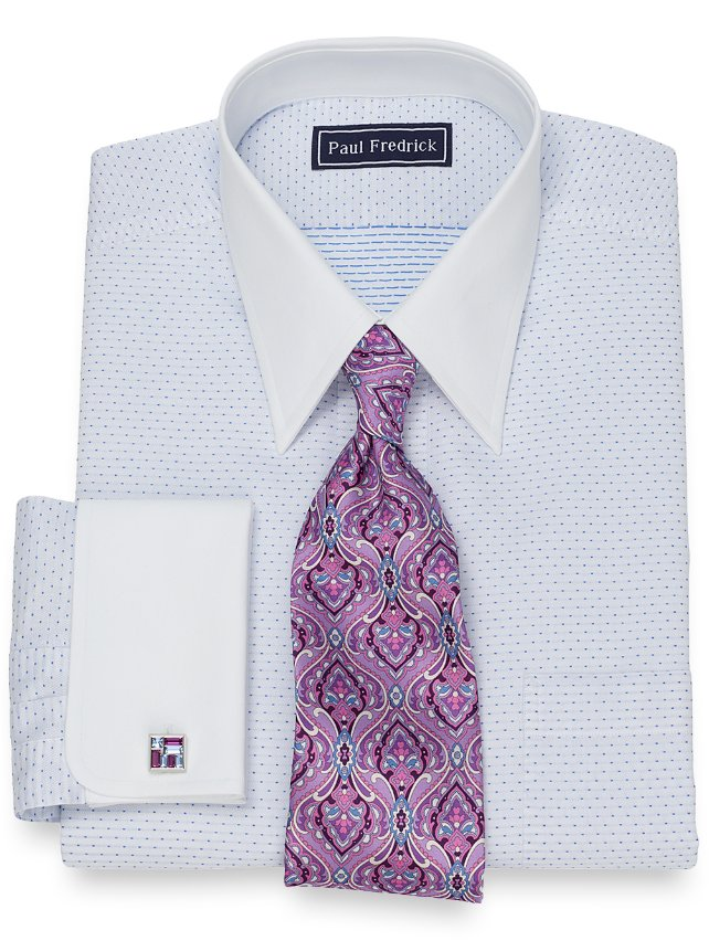 Cotton Dot Pattern Dress Shirt