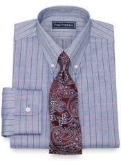 Cotton Windowpane Dress Shirt