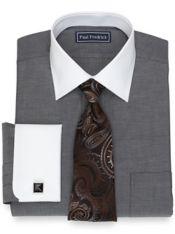 Slim Fit Pure Cotton Broadcloth Herringbone Dress Shirt