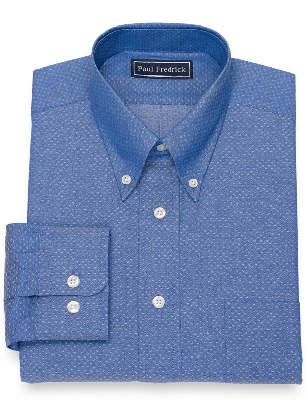 Pure Cotton Broadcloth Textured Pattern Dress Shirt