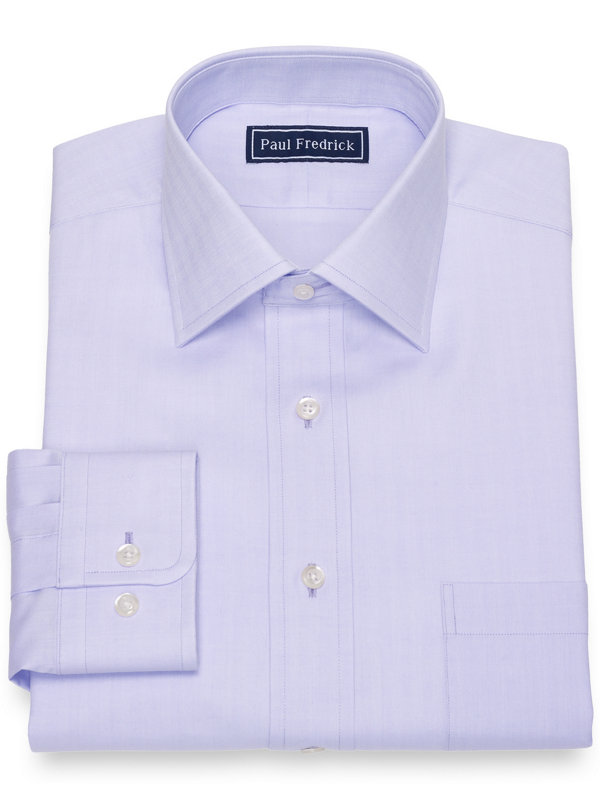 Pure Cotton Broadcloth Herringbone Dress Shirt