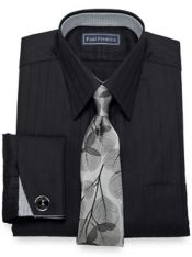 Pure Cotton Broadcloth Herringbone Dress Shirt with Contrast Trim