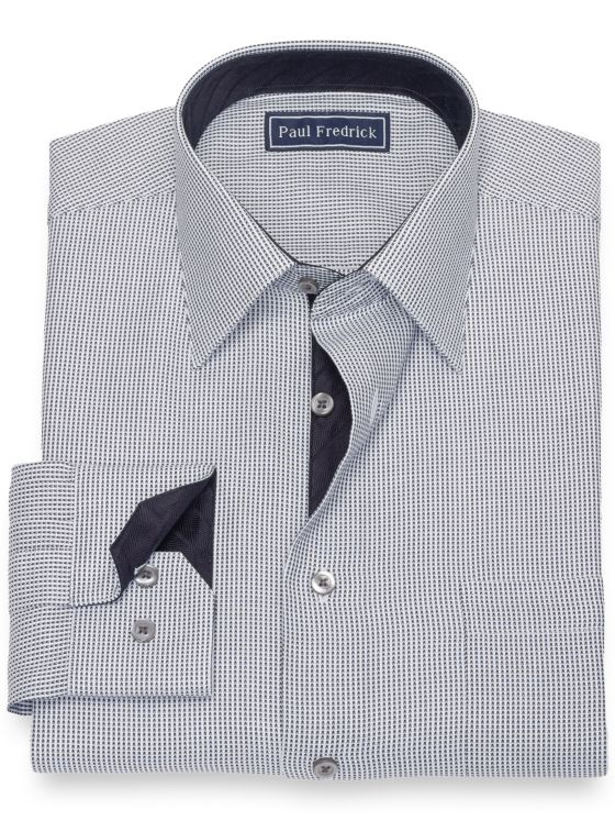 Pure Cotton Broadcloth Chevron Dress Shirt with Contrast Trim