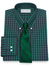 Slim Fit Non-Iron Cotton Pinpoint Tartan Dress Shirt