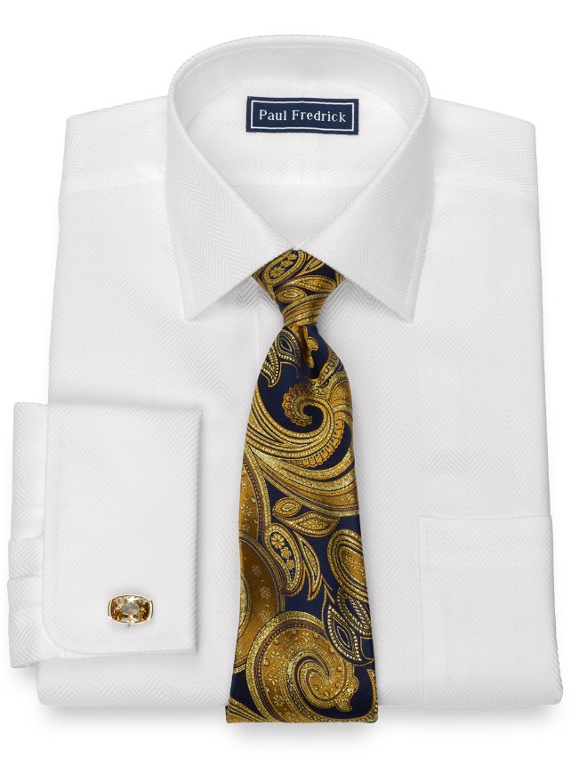 Slim Fit Herringbone Cotton Dress Shirt