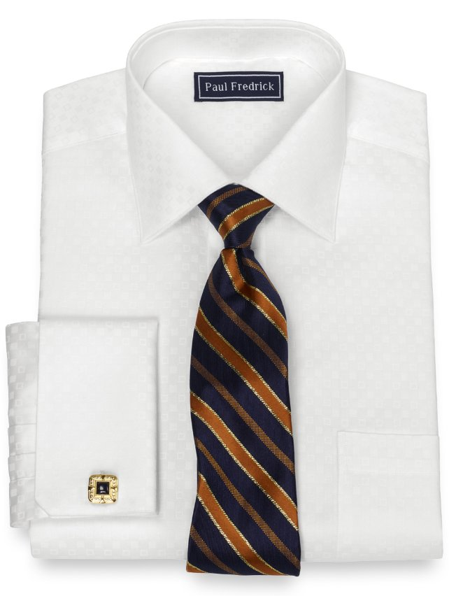 Slim Fit Pure Cotton Broadcloth Satin Squares Dress Shirt