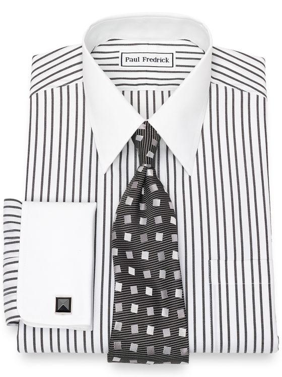 Slim Fit Non-Iron Cotton Pinpoint Stripe Dress Shirt