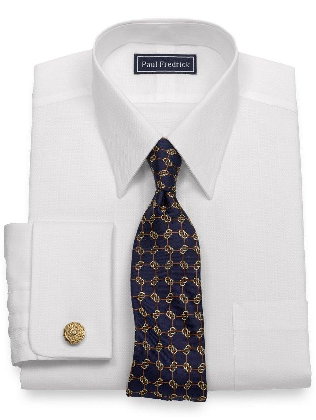 Slim Fit Cotton Textured Stripe Dress Shirt