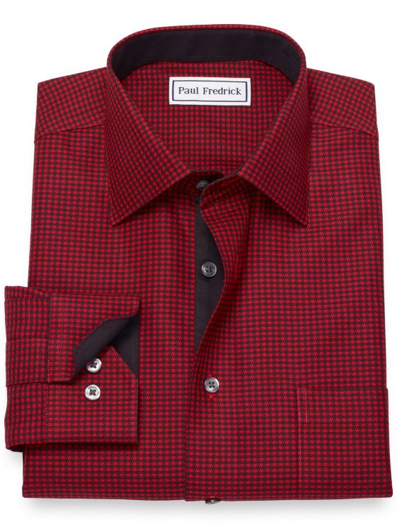 Non-Iron Cotton Broadcloth Houndstooth Dress Shirt with Contrast Trim