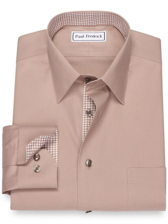 Slim Fit Non-Iron Cotton Pinpoint Solid Color Dress Shirt with Contrast Trim