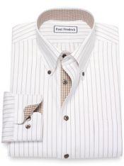 Slim Fit Non-Iron Cotton Pinpoint Stripe Dress Shirt with Contrast Trim