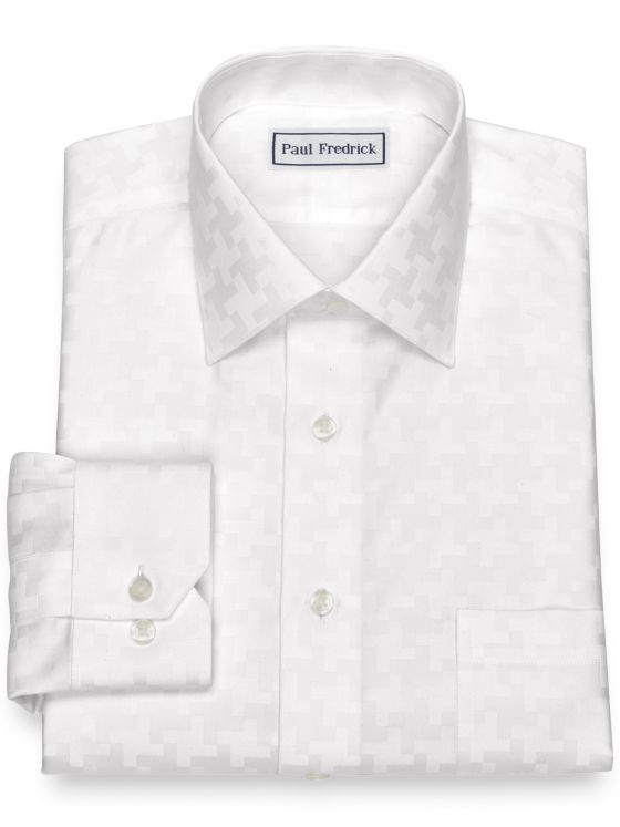 Non-Iron Cotton Houndstooth Dress Shirt