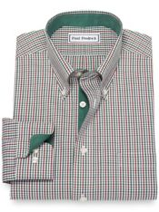Non-Iron Cotton Pinpoint Tattersall Dress Shirt with Contrast Trim