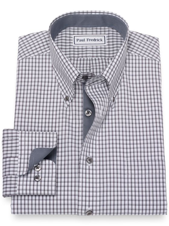 Slim Fit Non-Iron Cotton Broadcloth Check Dress Shirt with Contrast Trim