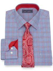 Pure Cotton Broadcloth Glen Plaid Dress Shirt with Contrast Trim