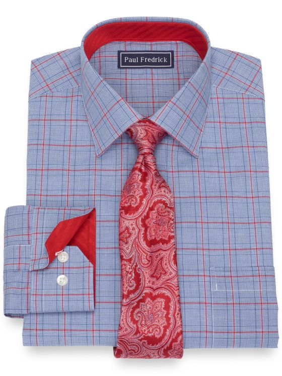 Slim Fit Pure Cotton Broadcloth Glen Plaid Dress Shirt with Contrast Trim