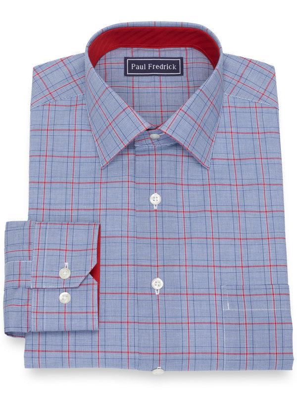 Slim Fit Pure Cotton Broadcloth Glen Plaid Dress Shirt with Contrast Trim