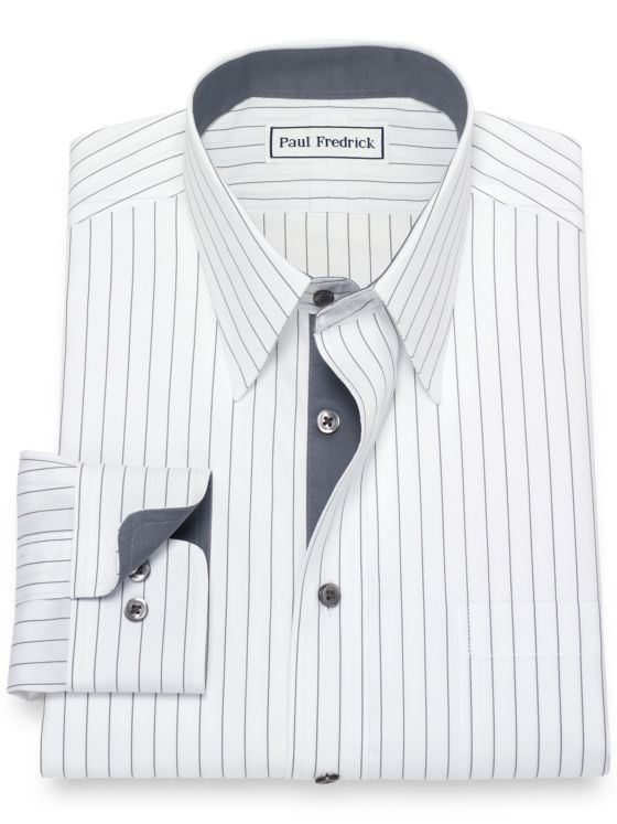 Non-Iron Cotton Pinpoint Stripe Dress Shirt with Contrast Trim