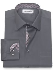 Non-Iron Cotton Pinpoint Solid Color Dress Shirt with Contrast Trim
