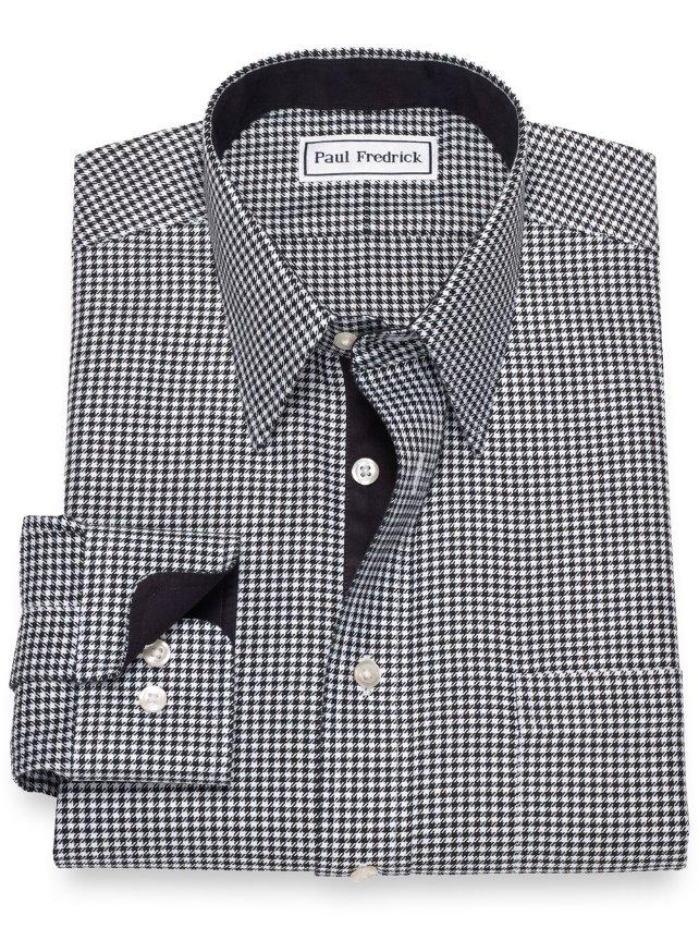 Slim Fit Non-Iron Cotton Houndstooth Dress Shirt