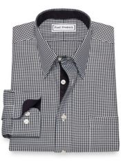 Slim Fit Non-Iron Cotton Houndstooth Dress Shirt with Contrast Trim