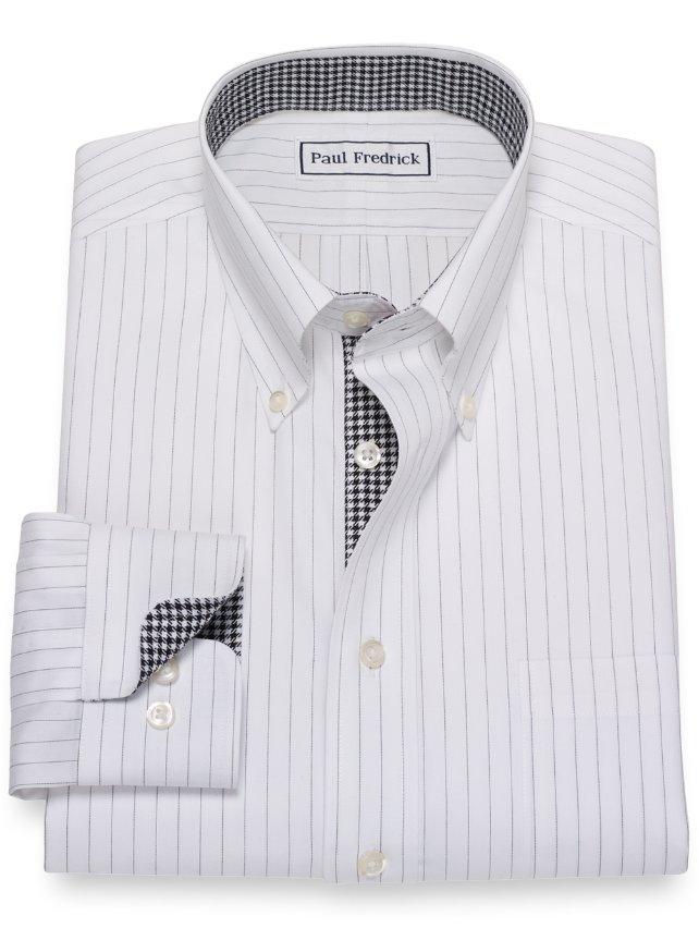 Non-Iron Cotton Fine Line Stripe Dress Shirt