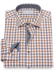 Non-Iron Cotton Gingham Dress Shirt with Contrast Trim