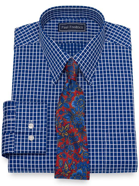 Slim Fit Pure Cotton Broadcloth Grid Dress Shirt