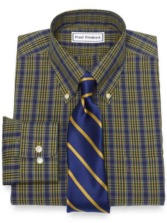 Slim Fit Non-Iron Cotton Pinpoint Tartan Dress Shirt