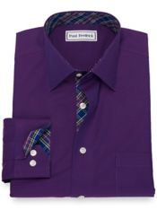 Non-Iron Cotton Broadcloth Solid Dress Shirt with Contrast Trim