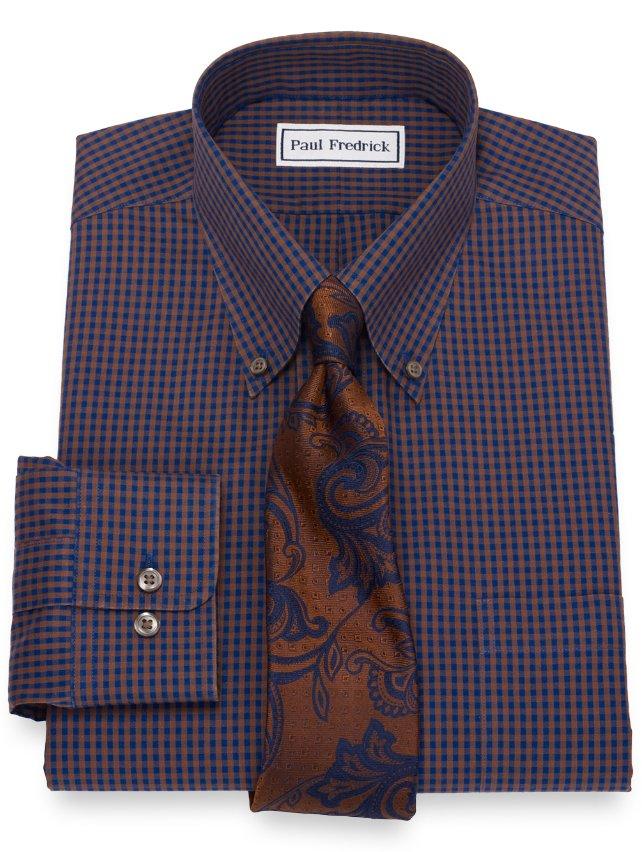 Slim Fit Non-Iron Cotton Mini Check Dress Shirt