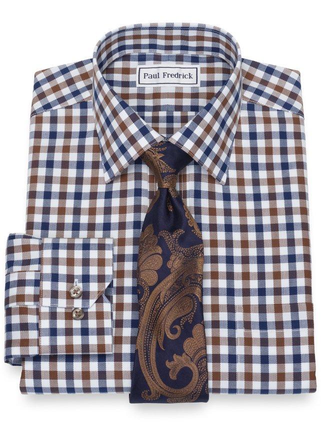 Slim Fit Non-Iron Cotton Gingham Dress Shirt