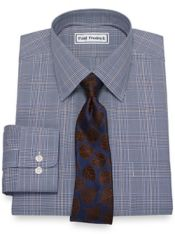 Slim Fit Non-Iron Cotton Broadcloth Glen Plaid Dress Shirt
