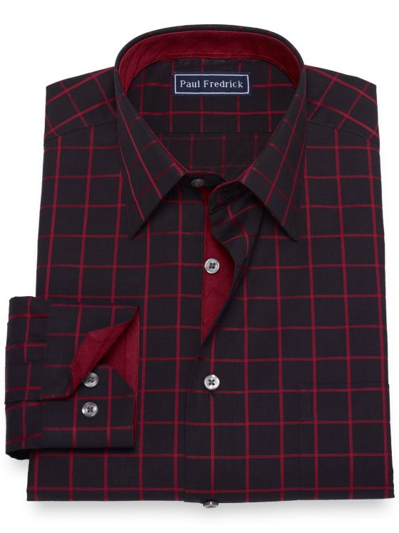 Slim Fit Pure Cotton Broadcloth Windowpane Dress Shirt with Contrast Trim